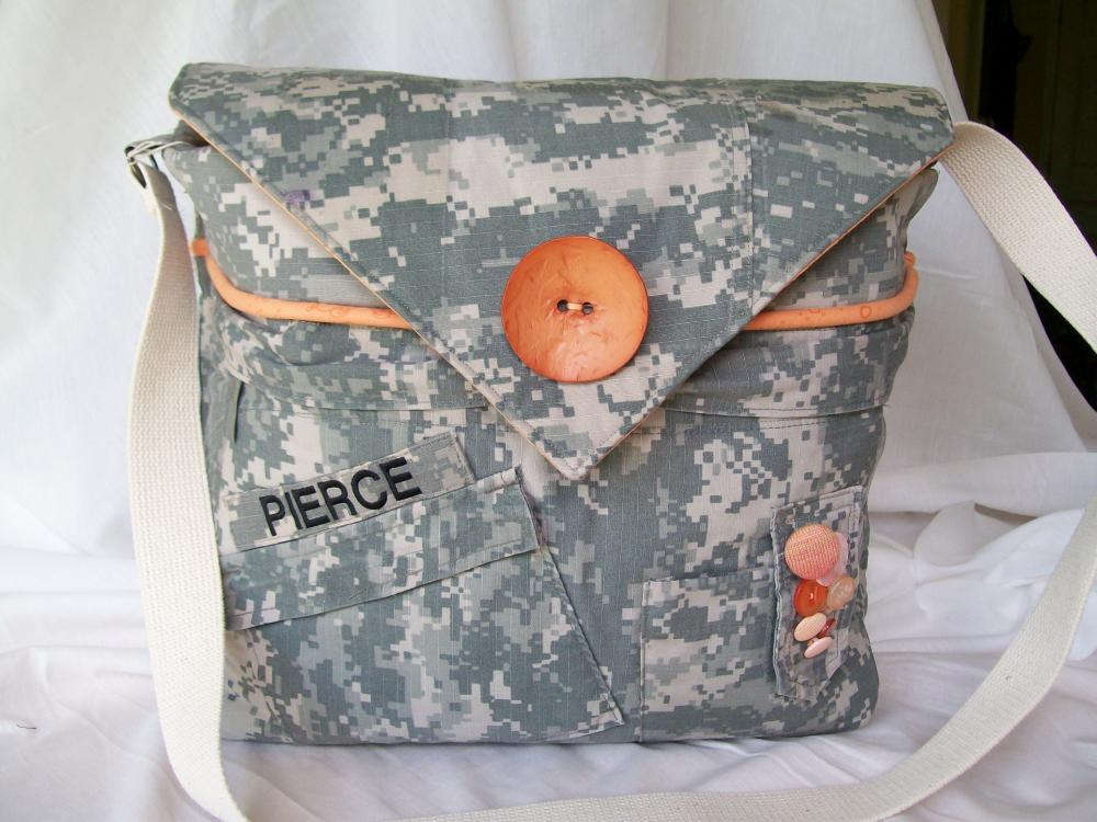 "Recycled Army Shirt Diaper Bag ""Digital"""
