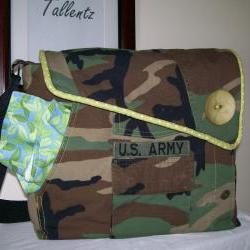 Recycled Army Shirt Diaper Bag  -SOLD
